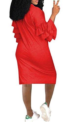 Partito Club Donne Vestito Camicia Da Abiti Girocollo Volant Red Maniche Jaycargogo FPtfx6