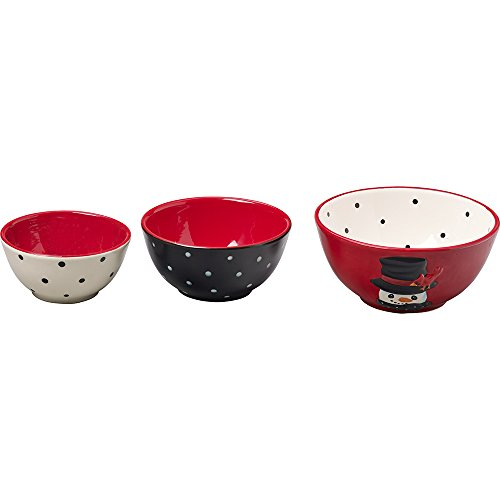 Snow Much Fun by Precious Moments Snowman Holiday Décor Ceramic Nesting Bowls, 3-Piece Set, 171475 - Ceramic Snowman