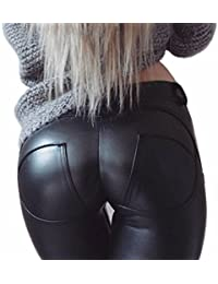 Faux Leather PU Elastic Shaping Hip Push Up Pants Black...