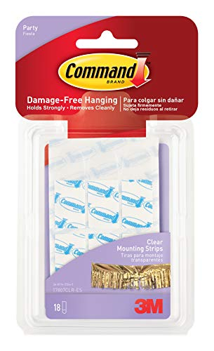 Command  Party Small Clear Mounting Strips-18 Strips/Pkg