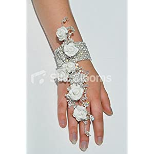 White Foam Rose Artificial Wrist Corsage with Crystal Detailing and Bracelet 77