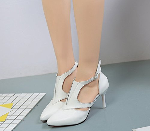Hollow Mujer High Zapatos Heel Pointed Spring Blanco LBDX de Slim qwXHf8