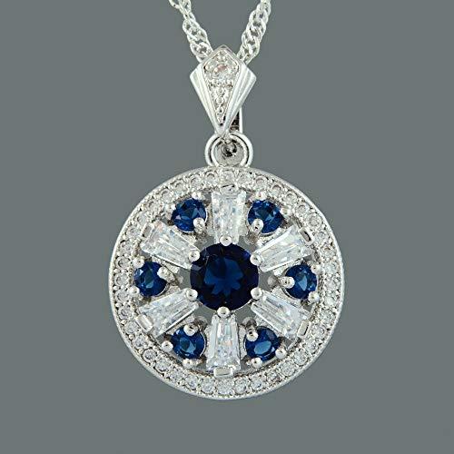 (FidgetKute Brass CZ 18K White Plated Blue Sapphire Round Cut Pendant Necklace Chain)