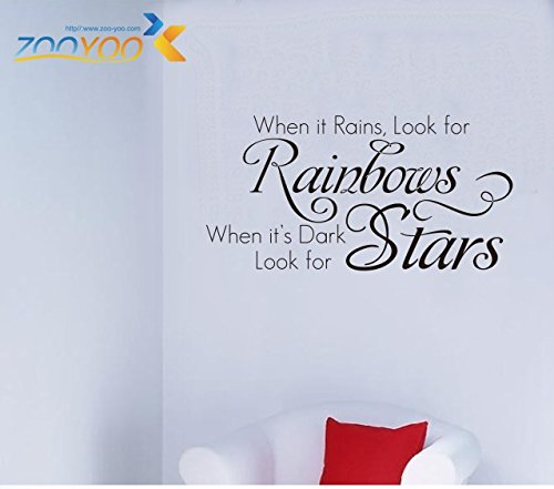 Amaonm® When It Rains Look for Rainbows New Style Quotes Wall Decal Sticker Decor for Baby's Room Removable Vinly Wall Decals Stickers for Kids Children Boys and Girls Bedroom Bathroom Living Room