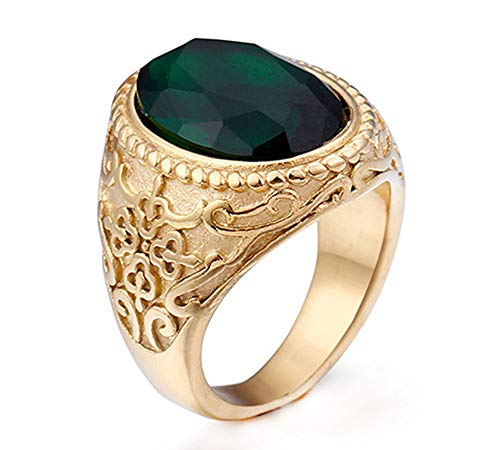 14k Gold Cameo Ring - Multi Colors Mens Vintage Nordic Warrior Gem Cameo Stainless Steel Rings,Gold Green,Size 7