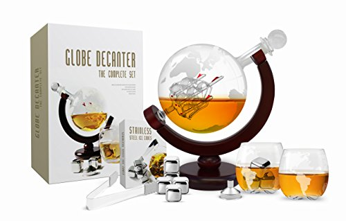 Whiskey Decanter Set Spirits Wine 850 ml Etched Globe Decanter and Glasses Stainless Steel Sipping Stones Tongs Funnel and Glass stopper