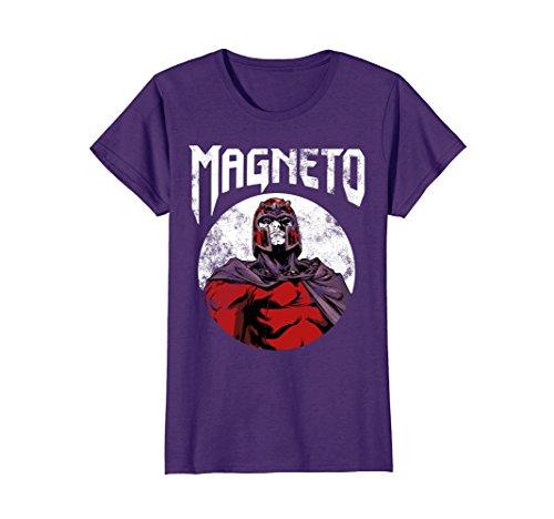 Womens Marvel X-Men Magneto Classic Retro Rock Band Graphic T-Shirt Large Purple