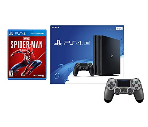 Playstation 4 Pro Marvel's Spider-Man Controller Bundle: Playstation 4 Pro 1TB Console – Black, Spider Man Game and Extra Steel Black Dualshock 4 Wireless Controller