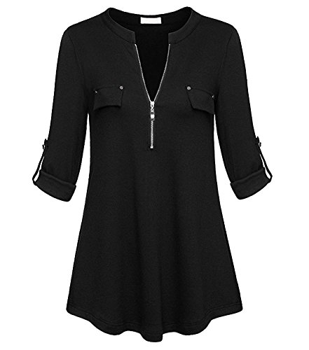 Donna Nero Fit amp;x Manicotto shirt Tops Slim Intermedio Qin T 6npxg5z