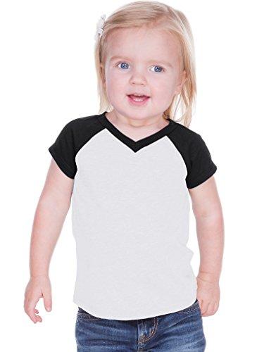 (Kavio! Unisex Infants Sheer Jersey Contrast V Neck Raglan Short Sleeve White/Black 24M )