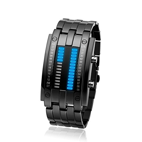 BROJET Man's Blue LED Digital Creative Waterproof Watches Black Plated Cool Binary Wrist Watch - Binary Watches For Men