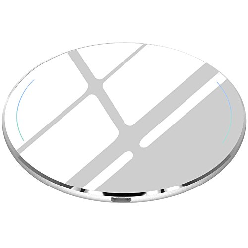TOZO for iPhone X Wireless Charger, [Ultra Thin] Aviation Aluminum [Sleep-Friendly] Wireless Fast Charging Pad for iPhone X / 10/8 / 8 Plus, Samsung Galaxy S8, S8+, Note 8 [Silver] - NO AC Adapter