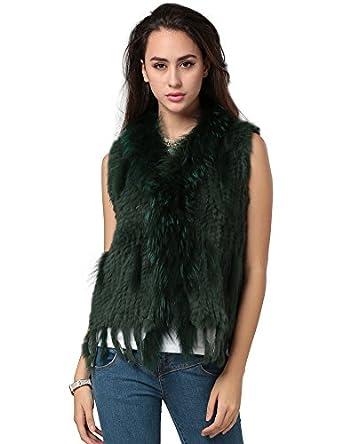 Ferand Women's Genuine Rabbit Fur Knitted Gilet Vest with Raccoon Fur Trim
