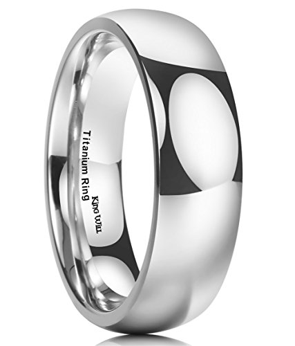 King Will 7MM Titanium Ring Domed Polished Comfort Fit Wedding Band For Men (9.5)