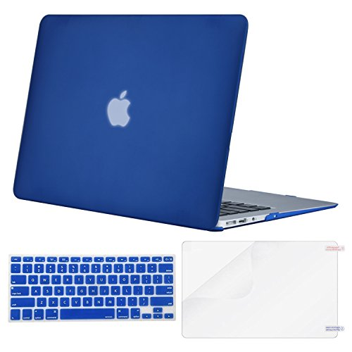 MOSISO Plastic Hard Case & Keyboard Cover & Screen Protector Only Compatible MacBook Air 13 Inch (Models: A1369 & A1466, Older Version Release 2010-2017), Royal Blue