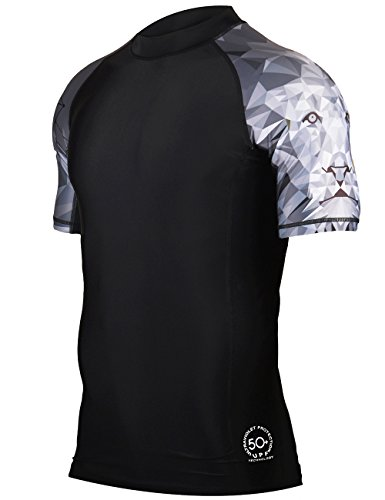 HUGE SPORTS Men's Splice UV Sun Protection UPF 50+ Skins Rash Guard Short Sleeves(Lion, - Surf Sh