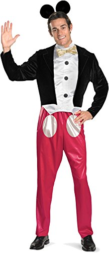 Disney Disguise Mickey Mouse Deluxe Mens Adult Costume, Red/Black/White, X-Large/42-46