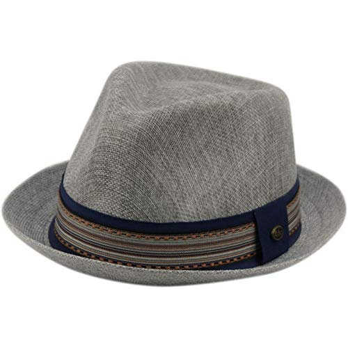 Epoch hats Mens Summer Fedora Cuban Style Upturn Short Brim Hat (L/XL, -