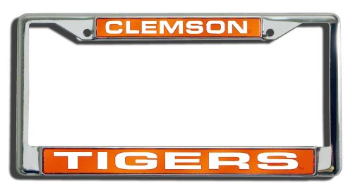 Rico Industries NCAA Clemson Tigers Laser Cut Inlaid Standard Chrome License Plate Frame ()