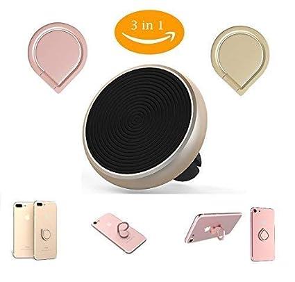 3 In 1 Auto Magnet Handy Halterung 2 Handy Ringhalter Gold Rosa Magnet Halterung Fürs Auto Auto Lüftung Halterung Smartphone Kfz Halter