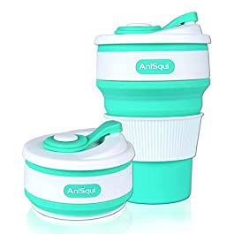 Collapsible Coffee Cup Silicone with Lids (12oz 350ml, BPA Free Eco Reusable Coffee Cup), Portable Coffee Cup, Foldable Coffee Mugs Collapsible Fits Your Pocket by AniSqui (Chance Green)