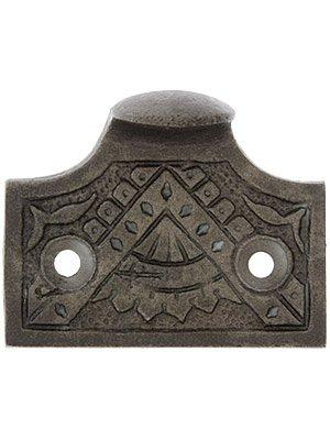Cast Iron Oriental Pattern Sash Lift in Antique Iron. (Lift Sash Iron)