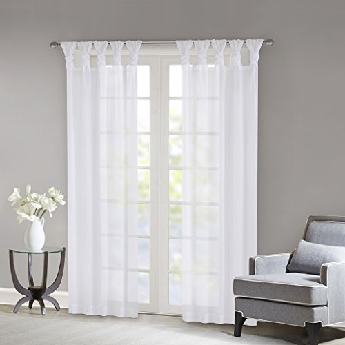 Madison Park Ceres Sheer Window Pair, White