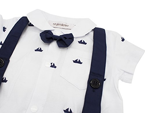 d832f713f Stylesilove Sailor Boat Print Faux Suspender Baby Boys Short Sleeve Tux  Romper ~ baby rompers ~ Bajby.com - is the leading kids clothes, toddlers  clothes ...