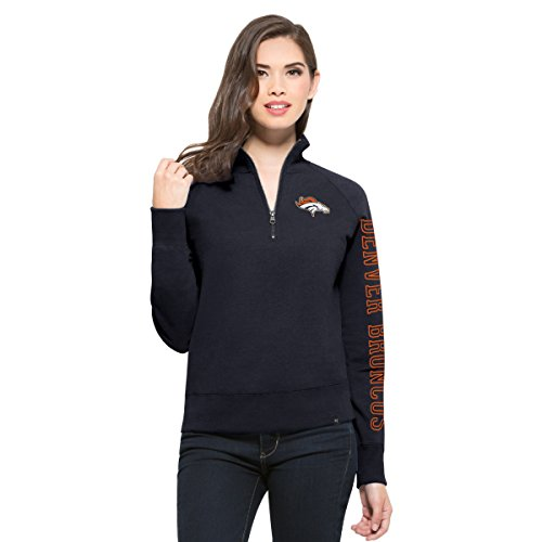 '47 NFL Denver Broncos Women's Shimmer Cross-Check 1/4-Zip Fleece Pullover, Small, Fall Navy