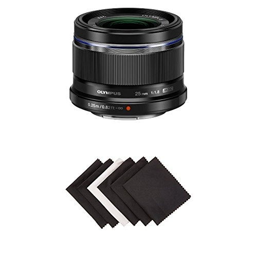 Olympus 25mm f1.8 Interchangeable Lens (Black) w/ AmazonBasics Microfiber Cloths