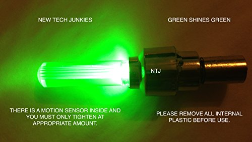 NTJ (4 Pack) LED Motion Activated Bike Bicycle Wheel Valve Stem Cap Tire Light (Green)