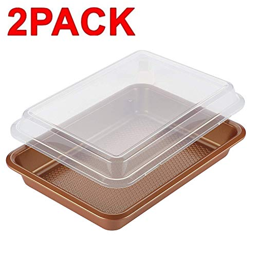 Ayesha Curry 47004 Bakeware Covered Rectangle Cake Pan, Copper 2 Pack 9 x 13