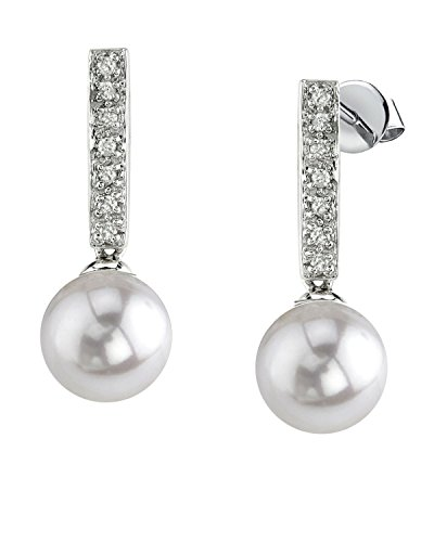 THE PEARL SOURCE 14K Gold 7.5-8mm AAA Quality Round White Akoya Cultured Pearl Dangling Diamond Earrings for Women