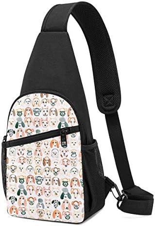ボディ肩掛け 斜め掛け かわいい犬 ショルダーバッグ ワンショルダーバッグ メンズ 軽量 大容量 多機能レジャーバックパック