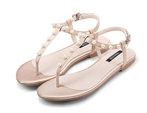 Zcjb Scarpe Da Donna Estive Scarpe Basse Strap Sandali Con Perle Sandali A Spina Di Pesce Tacco Piatto (colore: Rosa, Misura: 36) Rosa