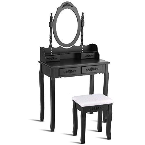 Desk Makeup Storing Dressing Drawer Vanity Table Stool Mirror ()