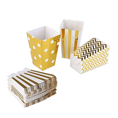 (Gold Popcorn Boxes Cardboard Candy Party Favor Boxes Container,Open-Top Paper Popcorn Boxes For Birthday, Bridal Baby Shower,Carnival/Movie/Fiesta,Dessert Tables Wedding Party Supplies,36pcs)
