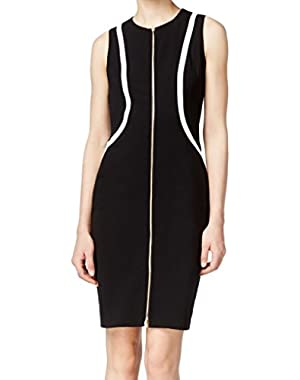 Calvin Klein Women's Contrast Zip Front Sheath Dress Black 6