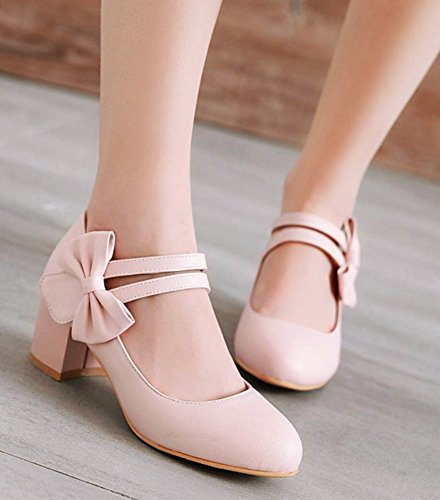 Aisun Womens Adorable Chunky Mid Heel Dressy Low Cut Hook and Loop Round Toe Ankle Strap Pumps Shoes With Bow Pink mvEFlbW5