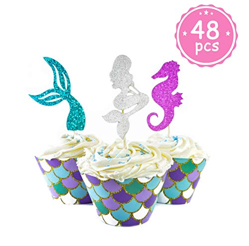 Mermaid Cupcake Toppers + Wrappers- 48 pcs- [Decoration for Little Mermaid Theme, Under The Sea Theme, Baby Shower Birthday Party Favors, Mermaid Tail, Seahorse Food Picks + Scale Cupcake Wrapper]