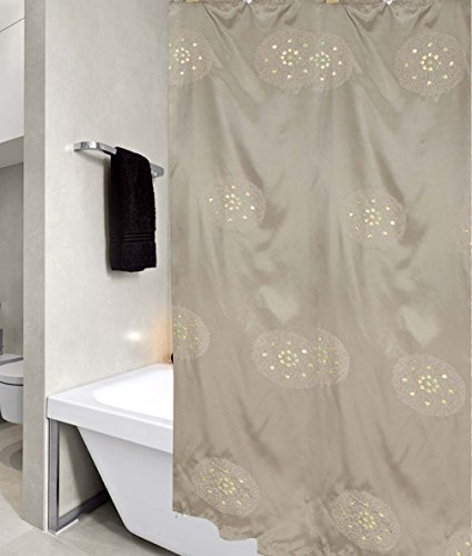 "United Linens PO-70-SA Peony Sequin Embroidered Fabric Shower Curtain, 70"" x 72"", Sage"