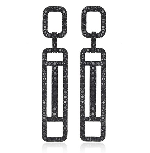 Janefashions Geometric Austrian Crystal Rhinestone Chandelier Dangle Earrings Prom Silver or Black E120 (Black) ()