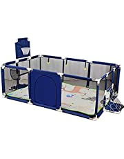 Large Baby Playpen, Foldable Safety Play Yard with Mat & Basketball Hoop, Foldable Portable Room Divider Barrier, Safety Barrier Castle, Expandable Toddler Fence, 128x190x66cm