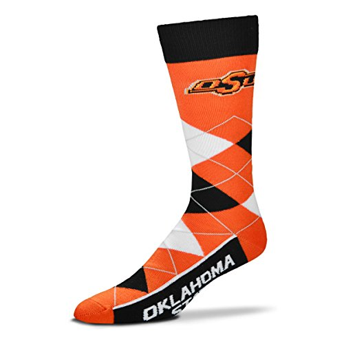 For Bare Feet NCAA Argyle Lineup Unisex Crew Dress Socks-One Size Fits Most-Oklahoma State ()