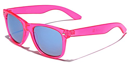 Retro 80's Fashion Sunglasses - Colorful Neon Translucent Frame - Mirrored Lens - Pink ()