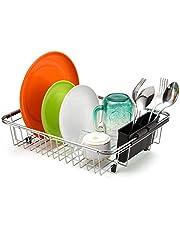 SANNO - Escurreplatos extensible, regulable sobre el fregadero, escurreplatos en el fregadero o en el mostrador con utensilios de almacenamiento de utensilio, acero inoxidable inoxidable