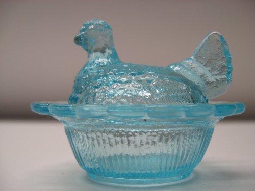 Hen Dish Covered (Mini Aqua Blue Glass Hen on Nest Chick Salt Covered Dish)