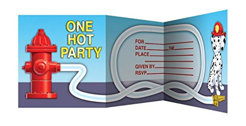 Faerynicethings Firefighter Party Table Ware - 8ct Invitations & Envelopes Z-fold 1 Pack - Party Supplies -