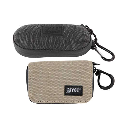 RYOT SmellSafe Odor Absorbing Case for Smoking Essentials Bundle – Includes 1 Large HardCase in Black and 1 Krypto-Kit Soft Shell Case in ()