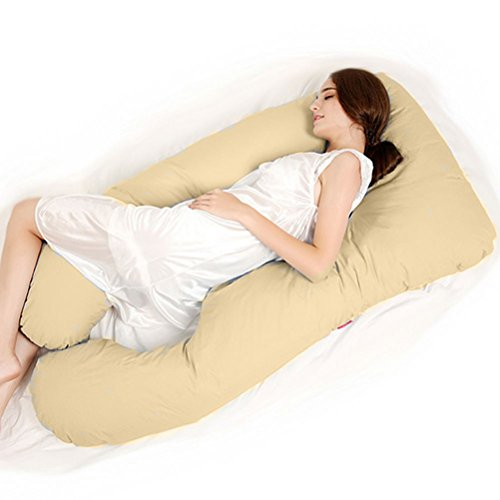Price comparison product image GZYF Unique U Shaped Full Body Support Pillow for Side Sleeping, Nursing Pillow, Maternity Pregnancy Pillow With Free 100% Cotton Pillow Case